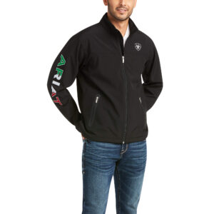 Ariat Mexico Team Softshell Jacket in Black Front View