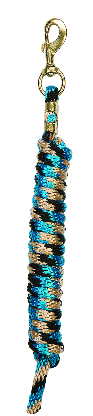 Weaver Leather Poly Rope Lead Black Turquoise and Tan Twist