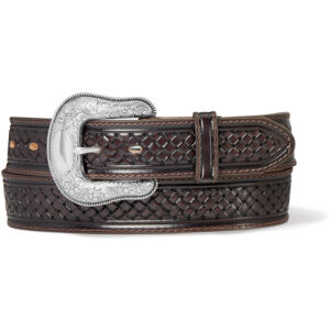 The Coleman leather western belt in chocolate with a deep embossed pattern.