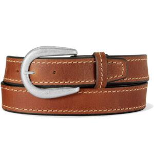 Brown leather western belt.