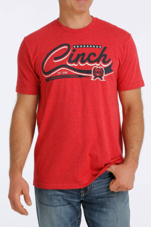 Cinch Heather Red Logo Tee Front View