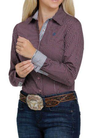 Cinch Purple Dot Western Button Shirt