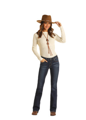 Rock and Roll Mid-Rise Bootcut Jeans with Aztec Pocket Embellishment Front View
